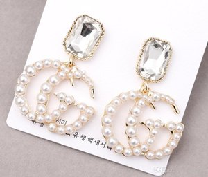 Fashion Letters Earrings Gold Color Stud Earring with Pearl For Women Girl Party Jewelry no box