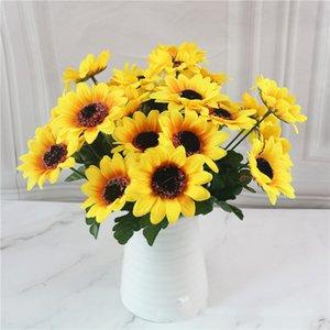 Prop Atış 7 kafa / şube Yapay Çiçek Ayçiçeği Simülasyon Sun Flower Gerbera Daisy Salon Parti Dekorasyon