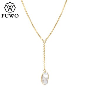 FUWO Natural Freshwater Pearls Necklace With Gold Dipped High Quality Y-shaped Simple Temperament Short Clavicle Chain NC501