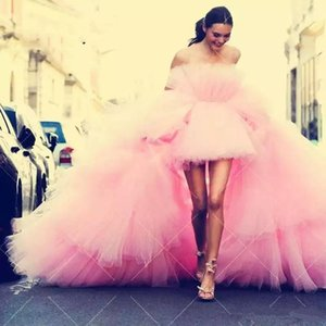 Hippie Style Chic Pink Tulle High Low Prom Dresses Tiered Train Arabic Plus Size Mermaid Evening Gowns 2020 Sweet 16 Dresses