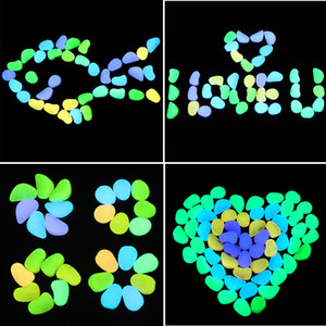 100pcs bag Glow In The Dark Luminous Pebbles Stones For aquarium Wedding Romantic Evening Festive Events Garden Decorations Crafts toys B1