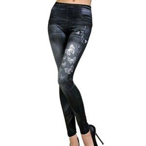 Hi-Tech de alta calidad de impresión de la mariposa polainas de las mujeres Leggin Vaqueros ajustados Legging femenino ocasional Legging Casual Denim