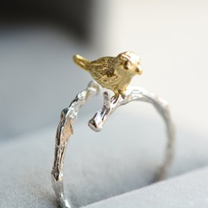 925 Sterling Silver Ring Creative New Year Gift Mori Branch Bird Open Silver Ring Female