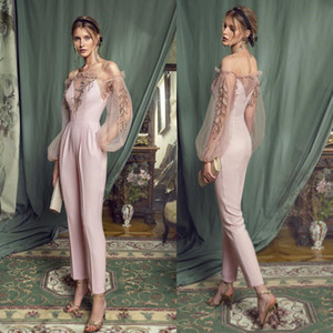 Vintage Pink Prom Jumpsuit Dresses 2021 Illusion Puffy Long Sleeve Lace Embroidery Arabic Occasion Evening Gown with Pant Suit