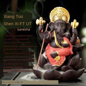 Прохладное фиолетового песок украшения дома символьной головы Индийского слона слон бог Ганеш ладан рефлюкс дом мебель курильницы