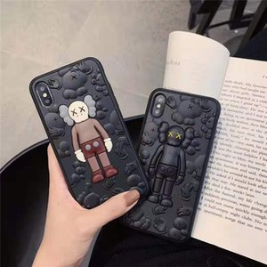 For iPhone 11 Por Max Xs Max Xr X 6 6S 7 8 Plus Case Cover Kaws 3D Toy Cartoon Soft Silicone Rubber Cute
