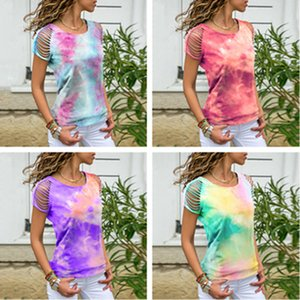 S-5XL Tie-dye T-shirts por Mulheres Ladies Plus Size Holes Ripped shirt da forma T Tees Sports Casual Top boutique pano S-5XL Plus Size LY727