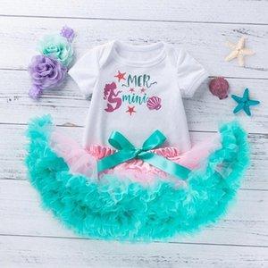 Jupe sirène Set New Born Baby Girls Romper Tenues Infant Girls Les cadeaux de princesse pour tout-petits enfants Vêtements d'anniversaire ZQFh #