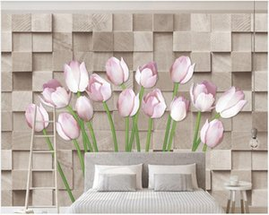 wall paper 3 d custom photo mural on the wall Modern brick wall hand painted tulip flowers home decor photo wallpaper in the living room