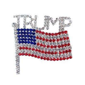 Trump Брошь Pin Алмазного флаг Брошь Rhinestone Письмо Trump брошь Кристалл Badge пальто платье Pins Одежда Мода ювелирные изделия GGA3593
