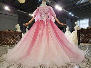 Wedding Sisters Evening Dress Princess Feifei Sleeve Handmade Lace Applique Super Flash Dream Fairy Gold Strap
