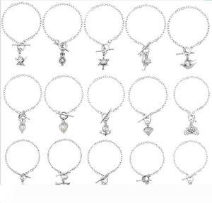 Natural Silver Pearl Charm Bracelet Dolphin Owl Conch gabbia del pendente del Locket Bracciali d'argento a mano dei monili della catena Mix 15 stili