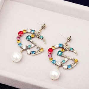 Famous Earrings with Crystal Pearl Big Long Earrings Jewelry for Women Red Green White Yellow Colorful Stone Gift Designer Earrings