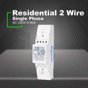 Residencial 2 fios Monofásico Din Rail Medidor de Energia Elétrica Medidor KWH com Backlight AC 230V 5-80A para economizar energia Poder 8hl3 #