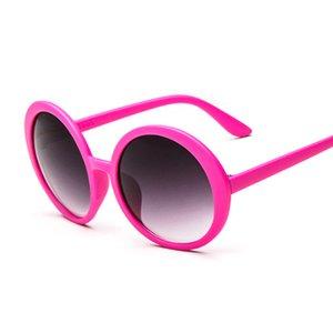 Pink Round Sunglasses Women Vintage Brand Designer Sun Glasses For Female Big Frame Plastic Color Mirror Feminino