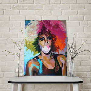 Modern Fashion African Woman Oil Painting Abstract Bubble Gum Girl Posters and Prints Scandinavian Wall Art Picture for Living Room Decor