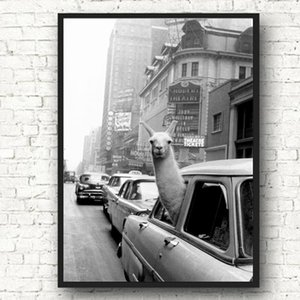 Funny Animal Posters and Prints Llama In A New York City Taxi Canvas Art Painting Wall Pictures for Living Room Modern Home Decoration