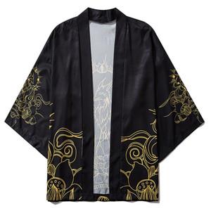 Aelfrico Eden hada de la impresión del japonés del kimono camisas abrigos 2020 Hip Hop para hombre chaquetas kimono japonés Streetwear frente abierto de la chaqueta