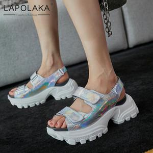 Lapolaka 2020 Sıcak Satış Rugan Yaz Sandalet Kadın Ayakkabı HookLoop Platformu Rahat Gladyatör Sandalet Kadın