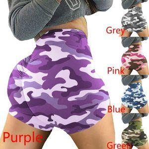 Femmes taille haute Sport Shorts Camouflage Imprimer BuWorkout Courir Leggings Fitness Yoga Shorts Compression Biker