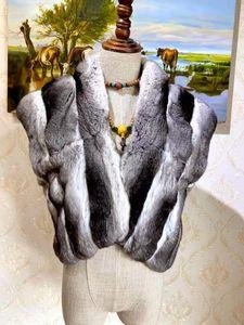 Серый отворот Мех шиншиллы короткое плечо с платье Arlenesain