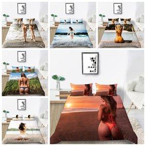 Seaside Beach Sexy Girls Sets Impressão de cama para Crianças Adolescentes Adultos UE / EUA / AU Tamanho