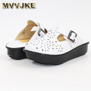 MVVJKE nouvelles chaussures creuses fond épais bovins pantoufles de loisirs Chaussures pour femmes confortables