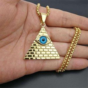 Pirâmide egípcia Evil Eye of Providence Colares Homens Mulheres cor do ouro de aço inoxidável colar dourada Egito Jóias