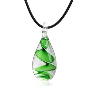 Hot Charm Water Drop Dangle Necklace Murano Glass Pendant for Women Party Wedding Necklace Jewelry Gift Bijoux Ohrringe