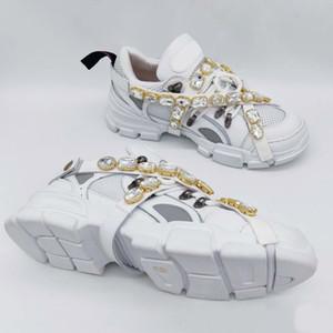 FlashTrek кроссовок со съемными кристаллы Мужские Роскошные дизайнерские Повседневная обувь Мода Роскошные женские дизайнерские туфли Кроссовки тапки с коробкой