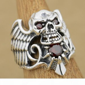 925 Sterling Silver Devil Wing Skull Red CZ Stone Mens Biker Ring 9M013 US Size 8~14 Free Shipping