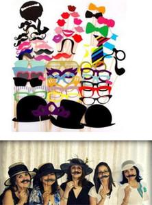 Bayram 58pcs / set komik Photo Booth Dikmeler Şapka Bıyık On A Çubuk Düğün Doğum Günü Partisi Favor