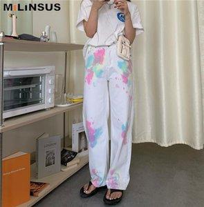 Milinsus Tie Dye Jeans Pantalons longs droites femme coréenne Casual Pantalons d'été 2020 White Denim Pantalons 90 Vêtements Streetwear