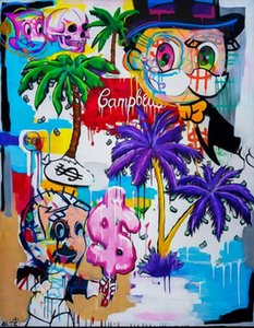 """Alec Monopoly Graffiti-Kunst Richie Rich 28x36"""" Home-Dekor-handgemaltes Ölgemälde auf Leinwand-Wand-Kunst-Leinwandbilder 200807"""