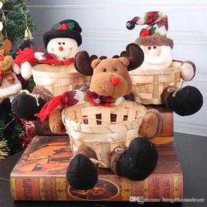 Netter Weihnachtszuckerspeicherbambuskorb Weihnachtsgeschenk Desktop-Süßigkeit Teller Dekoration Weihnachtsmann-Süßigkeit-Speicher-Korb Prop Ornament ZX BH2433