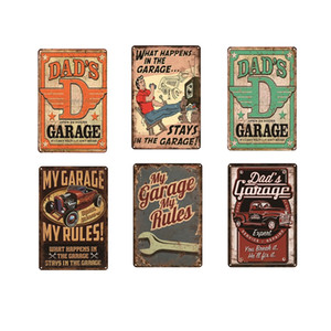 Dad's Garage Vintage Metal Plate Home Garage Gas Station Bar Pub Cafe Decorative Wall Art Poster Tin Sign Retro 20x30cm Warning Full Service