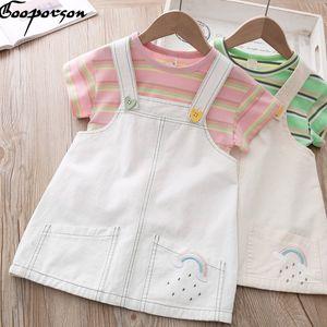 Manga Gooporson ropa del verano para niños rayas corto Shirtrainbow bordado de la correa de la falda de la moda de las niñas sistema de la ropa