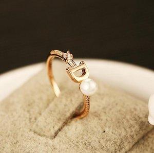 High quality rose gold rings for women imitation pearl letter D CZ diamond ring fashion Korea design R00044