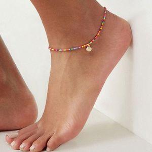 Мода красочные бусы Cowrie Shell ножной для женщин Браслет на ноге Золото Серебро Цвет голеностопного цепи Foot ювелирные изделия gE8e #