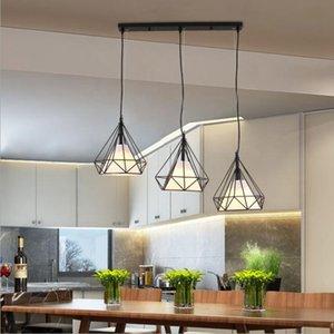 Industrial Metal luminária Rustic Chandelier do vintage que pendura Diamante de teto luminária para Cozinha Sala de jantar Entryway