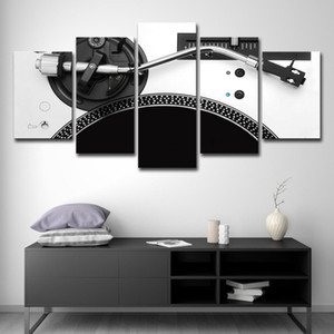5 Panels Decorative Art Large Canvas Posters Music Player Canvas Oil Painting Modern Wall Art Picture for Living Room Home Decor
