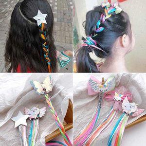 1PCS sveglie ragazze da sogno clip colorata farfalla Unicorn stella Parrucca forcine dei capelli dei bambini delle fasce Barrettes bambini Accessori per capelli Qaqo #