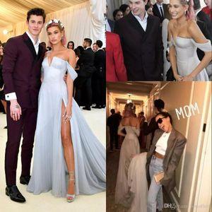 Modest Dusty Blue Prom Party Dresses With High Split Side Elegant Off Shoulder Cheap African Evening Celebrity EveningDress