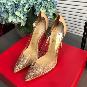 New style, women's shoes with drilled sheepskin pointed diamond shoes women's transparent crystal bright diamond fairy high heels
