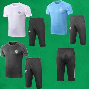 Real Madrid Fußball Trainingsanzüge 20 21 Short Sleeve Fußball Anzug Männer Sport Trikots und 3/4 Hose Adult Real Madrid Maillots