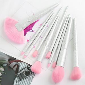 10PCS Rainbow Crystal Makeup Brush Set 3D Magic Color Big Fan Shape Blush Eyeshadow Concealer Lip Make up Brushes Beauty Tool