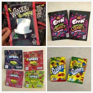 4 Styles gélifiés Mylar Sac 500MG Comestibles détail Zip verrouillage Emballage Worms Bears Cubes Gummy pour Dry Herb Flower
