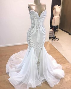 Lace Mermaid Wedding Dress Real Pictures Sweetheart Lace Appliqued Chiffon Train Custom Made Country Bridal Gowns Boho Vestidos De Noiva