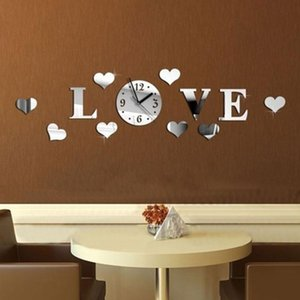 Love Shape Bedroom 3D Accessories Home Decor Art Gift Wall Clock Living Room Acrylic Mirror Sticker Decals Removable