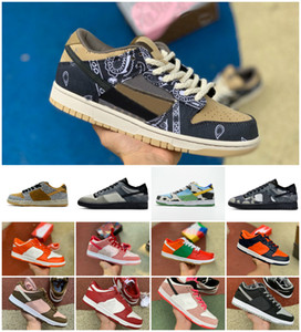 2020 Travis Scotts x SB Dunks faible Strangelove Hommes Chaussures de course Chunky Dunky Dunks Safari SP Brésil Université Rouge Muslin Chaussures de sport infrarouge